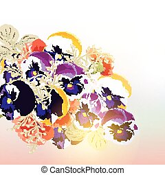 Floral vector background with violent flowers in soft...