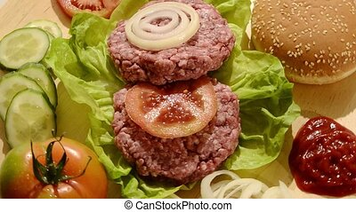 fast food, raw burgers - raw burgers with lettuce, tomato...