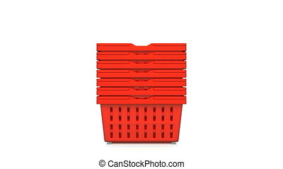 Red Shopping Baskets On White Background.