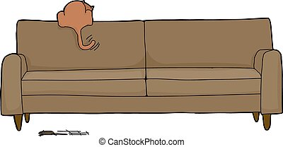 Cat Looking For Mouse - Cartoon of brown housecat looking...