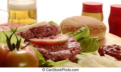 fast food, raw burgers - raw burgers, beer, mustard and...