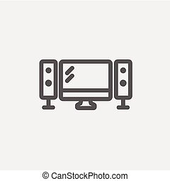 Flat screen television with speakers thin line icon