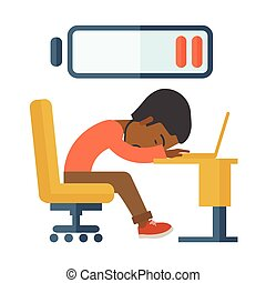 Employee fall asleep at his desk. - A tired black employee...
