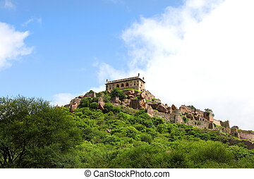 Golkonda fort landscape - Historic Golkonda fort in...