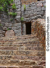 Golkonda fort stairs - Stairs entrance to historic Golkonda...