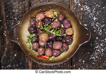 Olives in brine - Italian food, snack of olives in brine...