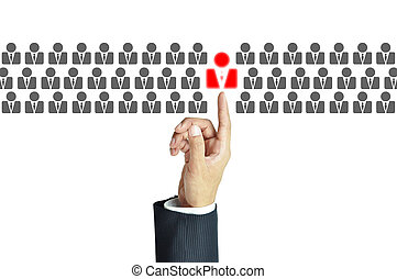 Businessman hand pointing to red human sign - business...