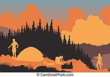 Wilderness campers - EPS8 editable vector illustration of a...