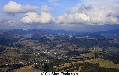 montanhas,  carpathian, aéreo, vista