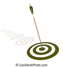 Arrow hitting the center of a green target