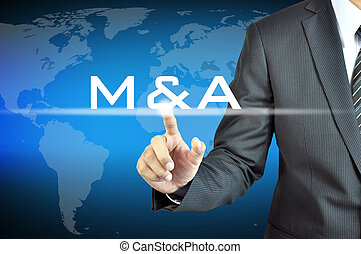 Businessman hand touching M and A on virtual screen - merger...
