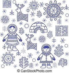 Winter abstract wallpaper with Eskimo and igloo...