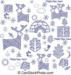 New years wallpaper with reindeers and igloo [Converted].eps...