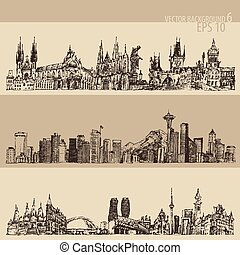 City Set Prague, Toronto, Seattle Vntage Engraved - City set...