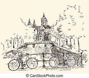Amsterdam Vintage Engraved Illustration Hand Drawn -...
