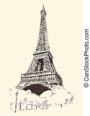 Eiffel Tower Paris France Engraved Hand Drawn - Eiffel Tower...