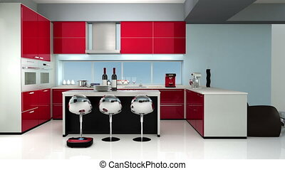 Modern kitchen in red color theme - Robotic vacuum cleaner...