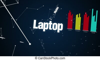 Text animation 'CLOUD COMPUTING' - Mobile, Laptop, Server,...