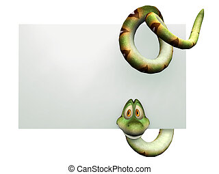 Cartoon snake hanging on blank sign. - A cute, friendly...