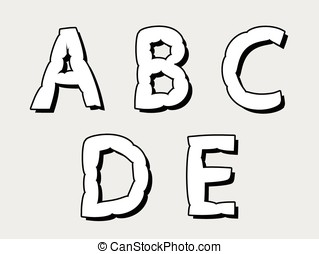 ABCDE bloated uppercase alphabet letters in white with...