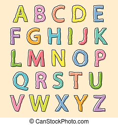 Colored alphabet letters with bloated outline - Complete set...