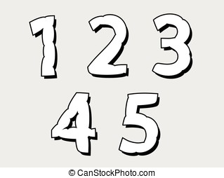 12345 set of numbers with a bloated design - 12345 set of...