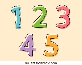 Colorful set of digits 12345 with a bloated shape - Colorful...