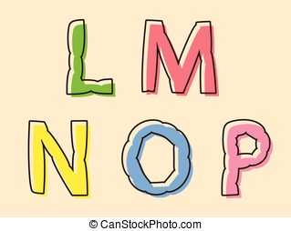 LMNOP colorful alphabet letters - LMNOP set of colored...