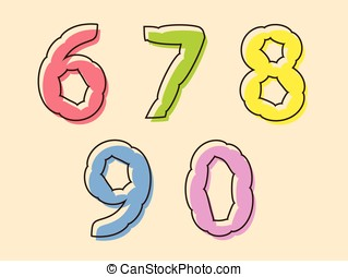 Colorful set of digits 67890 - Colorful set of digits or...