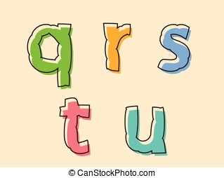 QRSTU colorful alphabet letters with bloated shape - QRSTU...