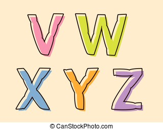 VWXYZ colorful alphabet letters with bloated shape - VWXYZ...