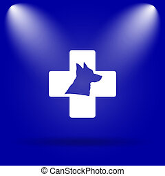 Veterinary icon. Flat icon on blue background.