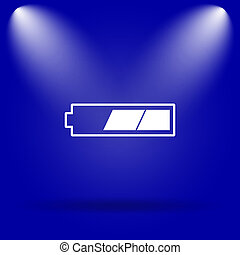 2 thirds charged battery icon Flat icon on blue background...