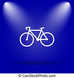 Bicycle icon Flat icon on blue background