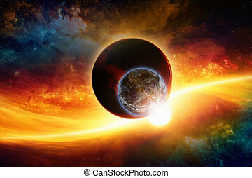 Planets in space - Abstract scientific background - aliens...