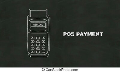 Insert credit card and POS payment in chalkboard