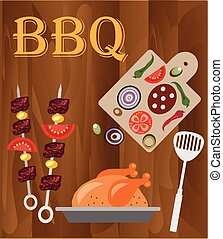 bbq wood background. - bbq,wood background with bbq objects.