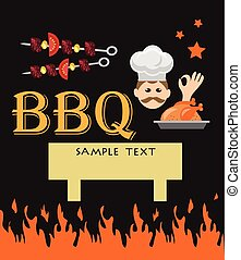 bbq card with funny cook.