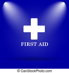 First aid icon. Flat icon on blue background.