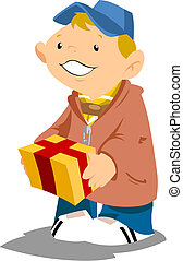 Boy scout with gift