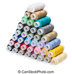 Pyramid of the Sewing multi colored thread isolated