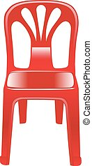 shiny red chair - red shiny plastic chair on a white...