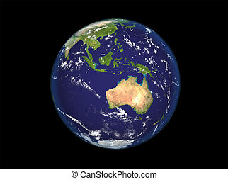 The Earth from space showing Australia and Indonesia...