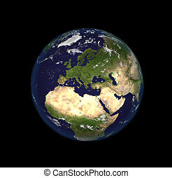 The Earth from space showing Europe and Africa. Extremely...