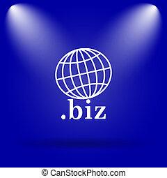 biz icon Flat icon on blue background