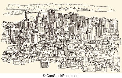 San Francisco City Architecture Vintage Engraved - San...