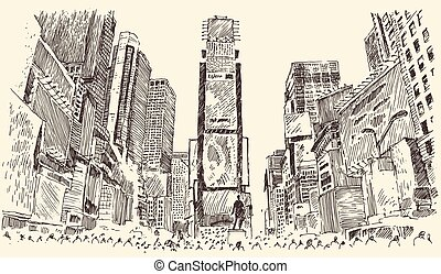 Times Square Street in New York City Engraving Vector...