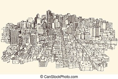 Big city Architecture Engraved Illustration Sketch - Big...