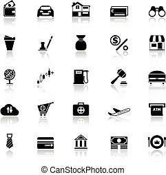E wallet icons with reflect on white background, stock...