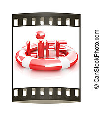 Concept of life-saving.3d illustration. Global. The film strip
